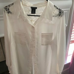 New directions white blouse with lace back